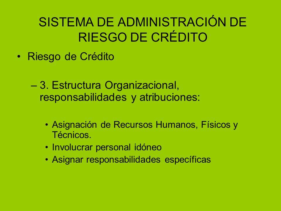 SISTEMA DE ADMINISTRACIÓN DE RIESGO DE CRÉDITO Riesgo de Crédito –3. Estructura Organizacional, responsabilidades y atribuciones: Asignación de Recurs