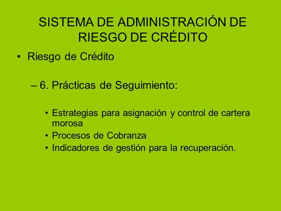 SISTEMA DE ADMINISTRACIÓN DE RIESGO DE CRÉDITO Riesgo de Crédito –6. Prácticas de Seguimiento: Estrategias para asignación y control de cartera morosa
