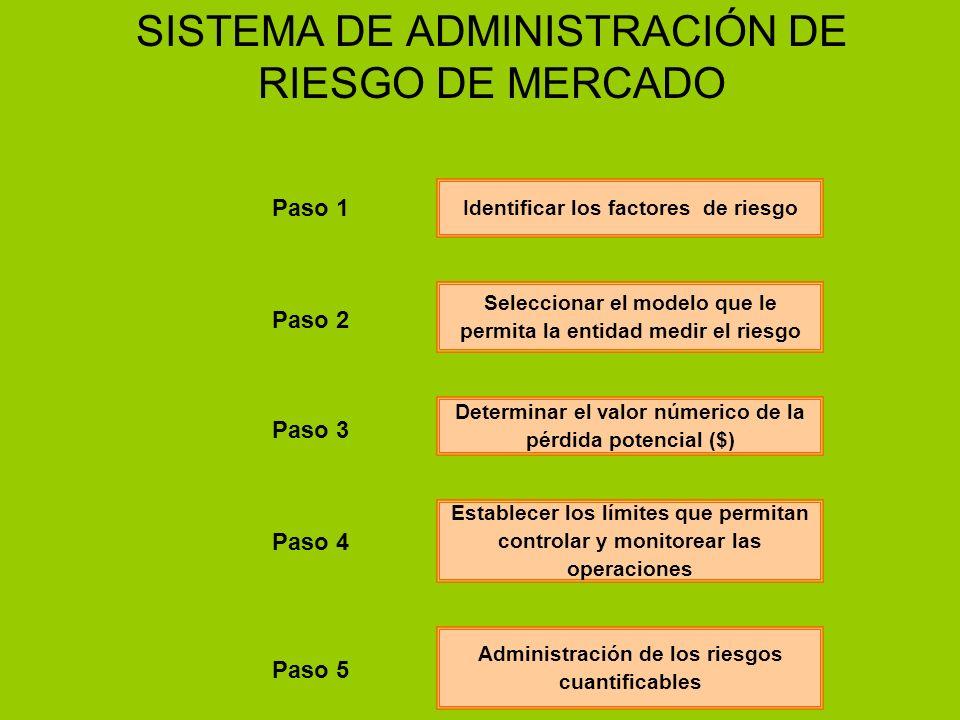 SISTEMA DE ADMINISTRACIÓN DE RIESGO DE MERCADO Identificar los factores de riesgo Seleccionar el modelo que le permita la entidad medir el riesgo Dete