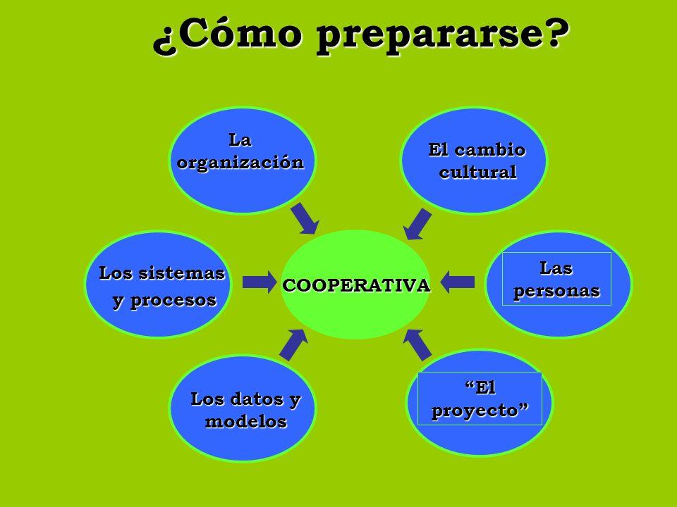 ¿Cómo prepararse? COOPERATIVA Los sistemas y procesos El cambio cultural Las personas El proyecto Los datos y modelos La organización