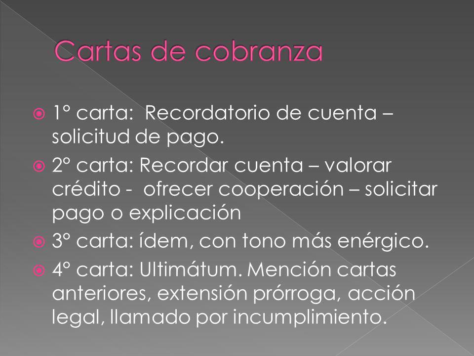 1° carta: Recordatorio de cuenta – solicitud de pago. 2° carta: Recordar cuenta – valorar crédito - ofrecer cooperación – solicitar pago o explicación