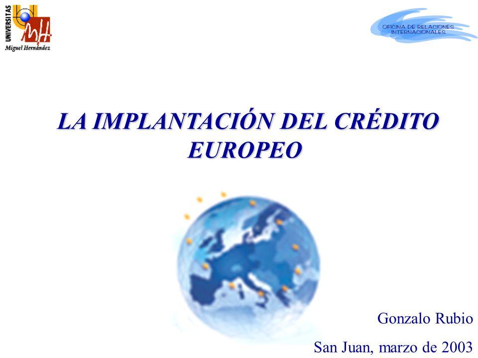 2010: Generalizado (Espacio europeo de educación superior) 2001: LOU, Art.88 unidad de medida 1999: Declaración de Bolonia ( el crédito europeo = crédito ECTS) 1995 - : Socrates / Erasmus 1989: Proyecto piloto (ECTS, Sistema Europeo de Transferencia de Créditos) 1989 2010 EL CRÉDITO EUROPEO