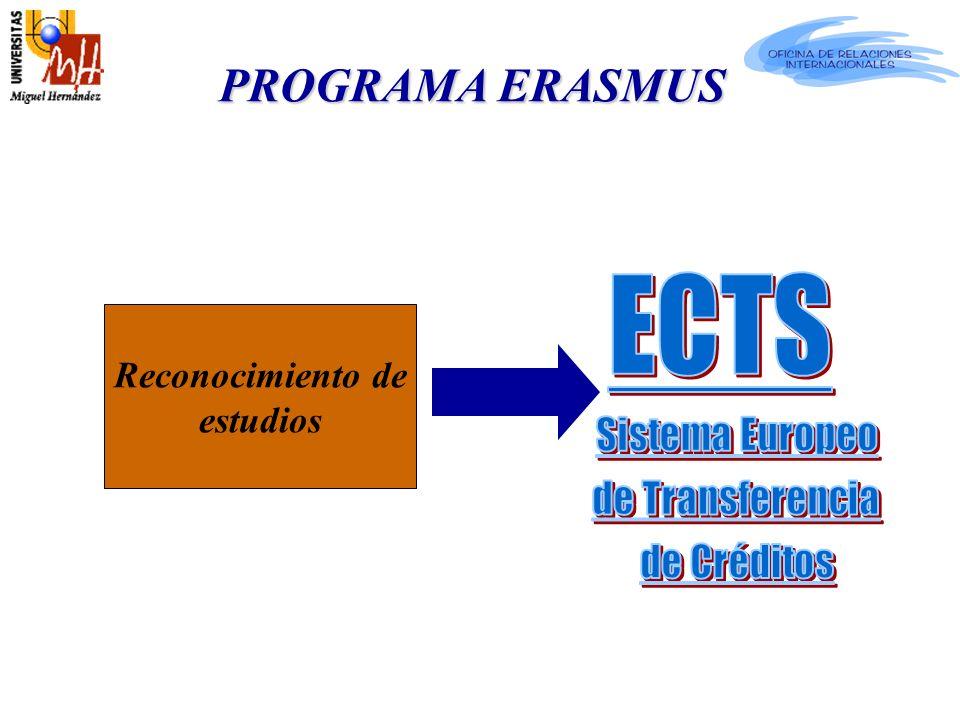 Reconocimiento de estudios PROGRAMA ERASMUS