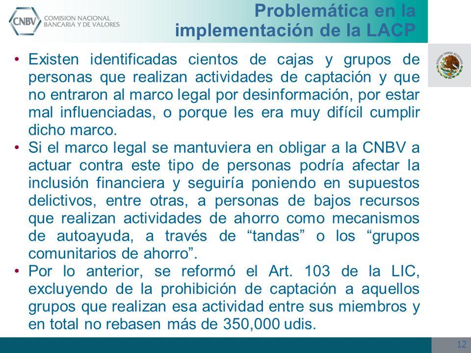 12 Problemática en la implementación de la LACP Existen identificadas cientos de cajas y grupos de personas que realizan actividades de captación y qu