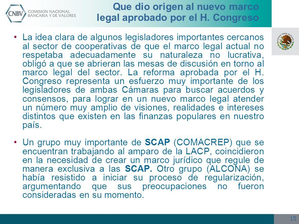 15 Que dio origen al nuevo marco legal aprobado por el H. Congreso La idea clara de algunos legisladores importantes cercanos al sector de cooperativa