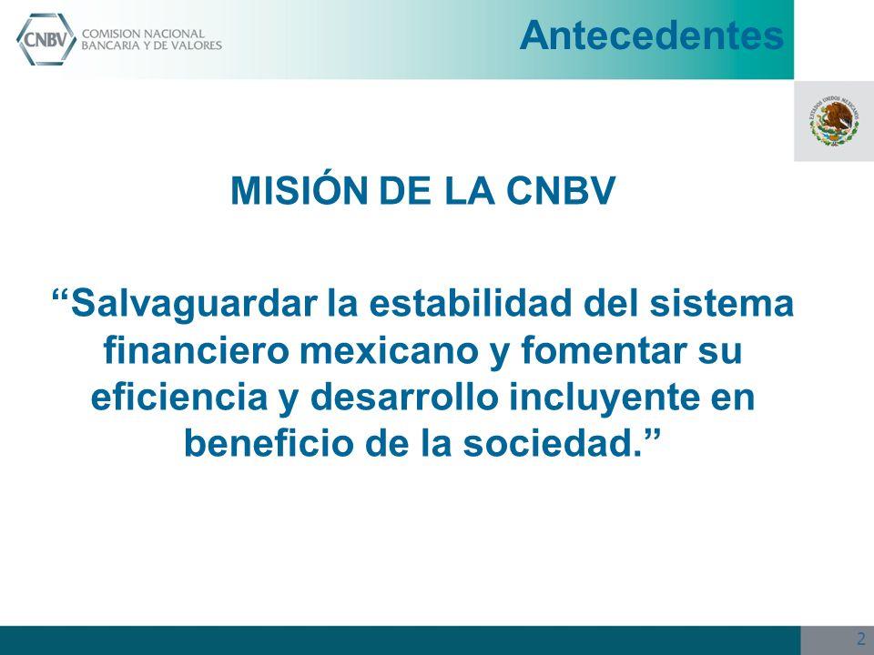 2 MISIÓN DE LA CNBV Salvaguardar la estabilidad del sistema financiero mexicano y fomentar su eficiencia y desarrollo incluyente en beneficio de la so