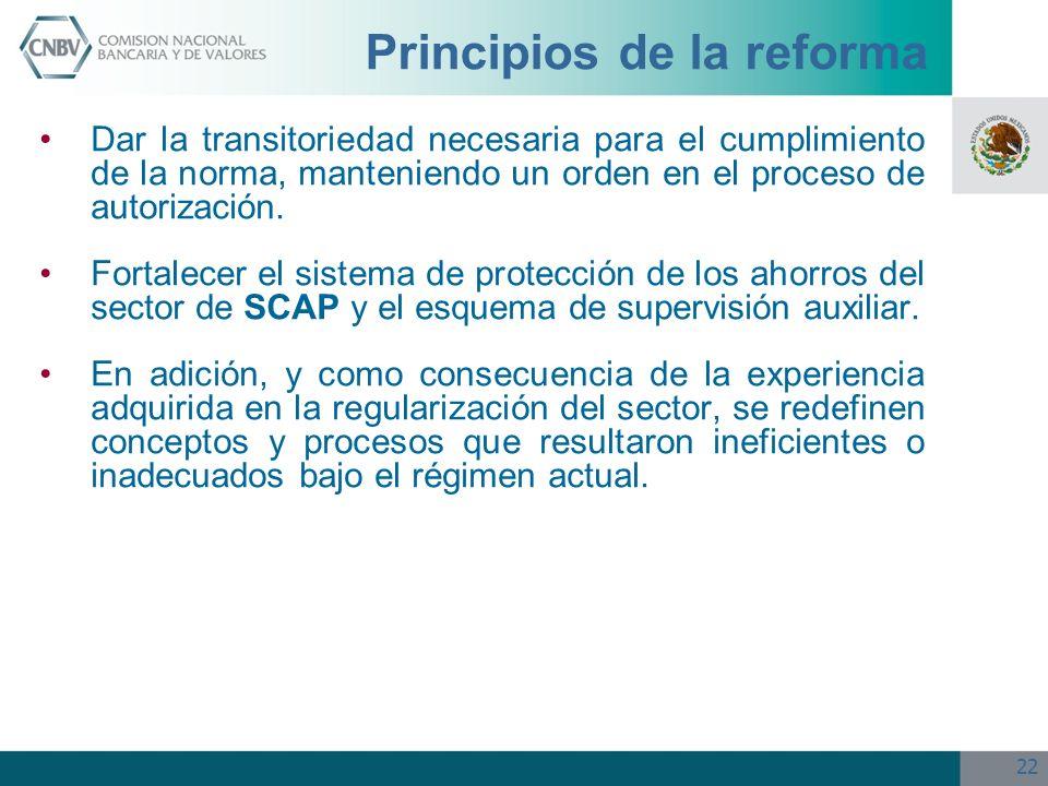 22 Principios de la reforma Dar la transitoriedad necesaria para el cumplimiento de la norma, manteniendo un orden en el proceso de autorización. Fort