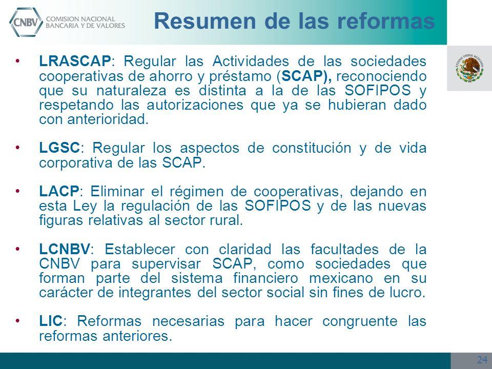 24 Resumen de las reformas LRASCAP: Regular las Actividades de las sociedades cooperativas de ahorro y préstamo (SCAP), reconociendo que su naturaleza