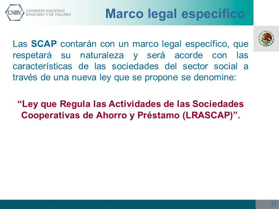 25 Marco legal específico Las SCAP contarán con un marco legal específico, que respetará su naturaleza y será acorde con las características de las so