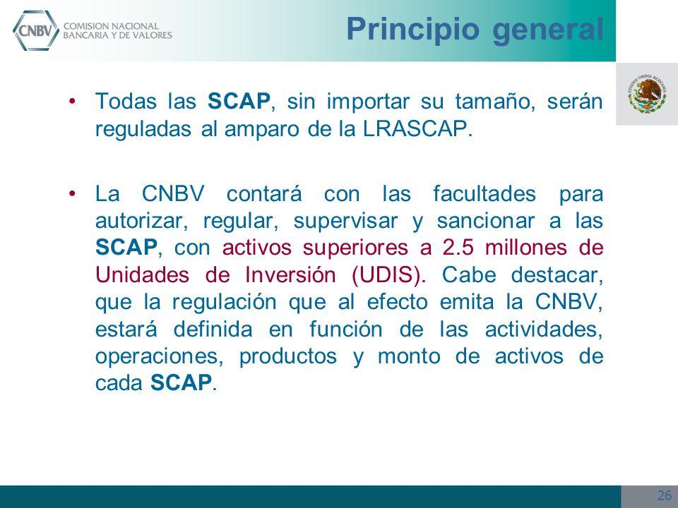 26 Principio general Todas las SCAP, sin importar su tamaño, serán reguladas al amparo de la LRASCAP. La CNBV contará con las facultades para autoriza