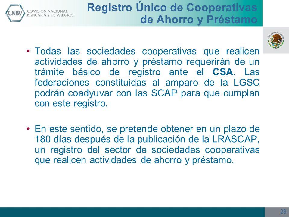 28 Todas las sociedades cooperativas que realicen actividades de ahorro y préstamo requerirán de un trámite básico de registro ante el CSA. Las federa