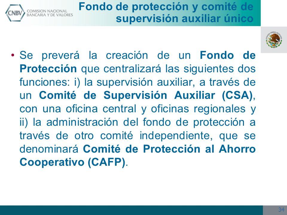 34 Se preverá la creación de un Fondo de Protección que centralizará las siguientes dos funciones: i) la supervisión auxiliar, a través de un Comité d
