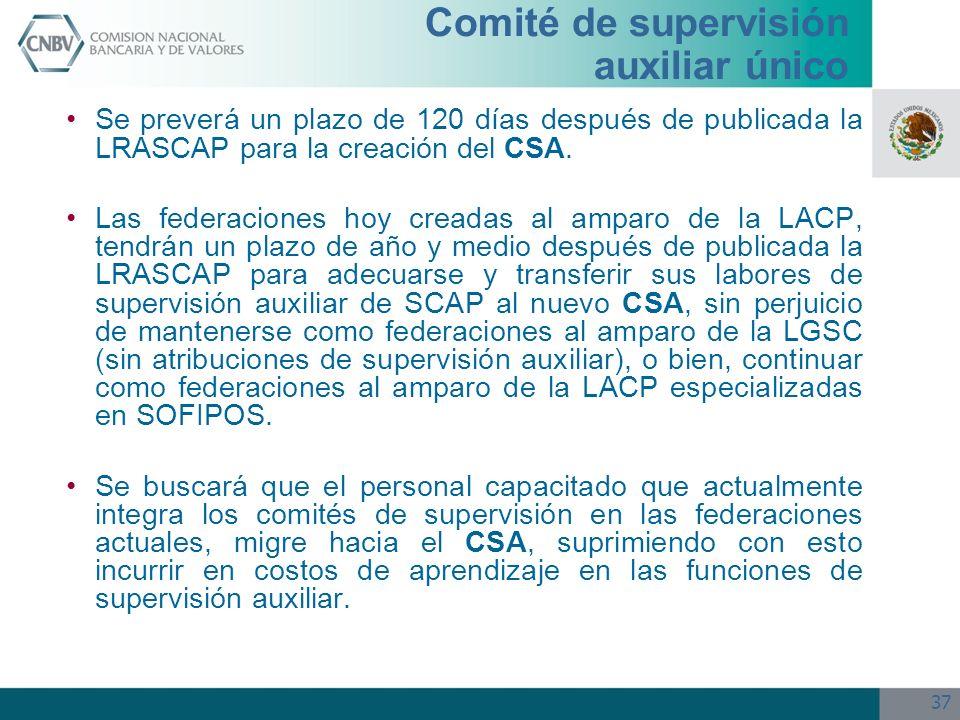 37 Se preverá un plazo de 120 días después de publicada la LRASCAP para la creación del CSA. Las federaciones hoy creadas al amparo de la LACP, tendrá