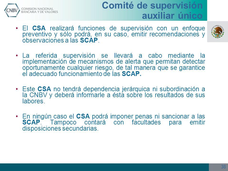 38 El CSA realizará funciones de supervisión con un enfoque preventivo y sólo podrá, en su caso, emitir recomendaciones y observaciones a las SCAP. La