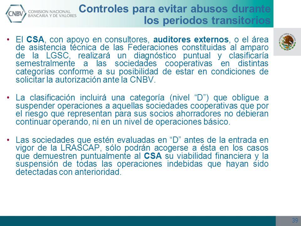 39 Controles para evitar abusos durante los periodos transitorios El CSA, con apoyo en consultores, auditores externos, o el área de asistencia técnic