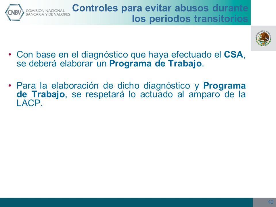 40 Controles para evitar abusos durante los periodos transitorios Con base en el diagnóstico que haya efectuado el CSA, se deberá elaborar un Programa
