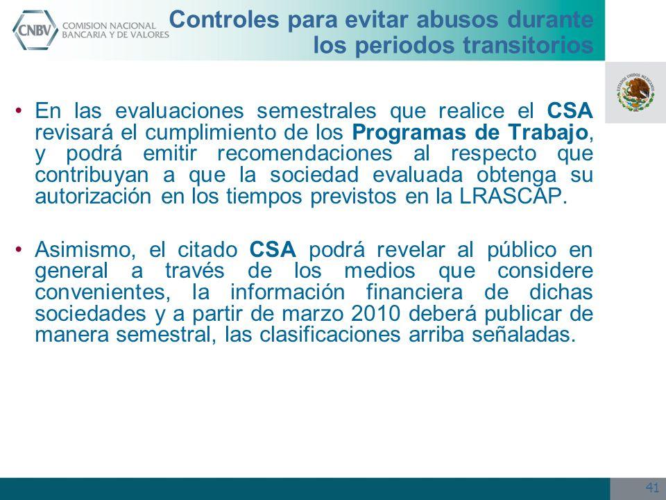 41 Controles para evitar abusos durante los periodos transitorios En las evaluaciones semestrales que realice el CSA revisará el cumplimiento de los P