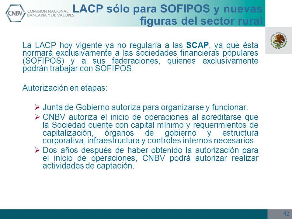 42 LACP sólo para SOFIPOS y nuevas figuras del sector rural La LACP hoy vigente ya no regularía a las SCAP, ya que ésta normará exclusivamente a las s