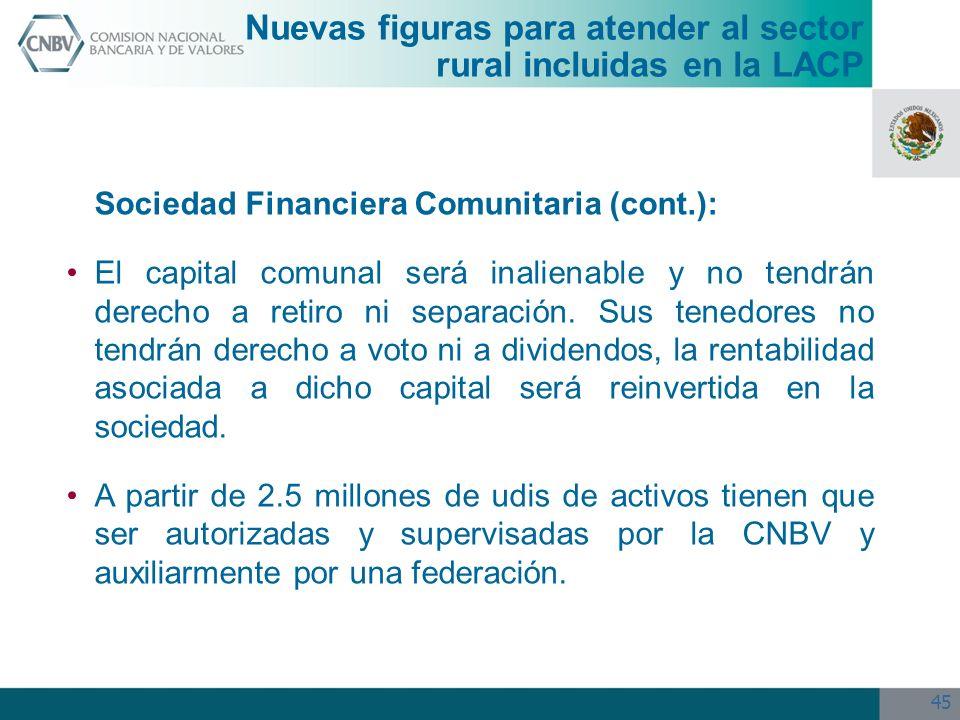 45 Sociedad Financiera Comunitaria (cont.): El capital comunal será inalienable y no tendrán derecho a retiro ni separación. Sus tenedores no tendrán