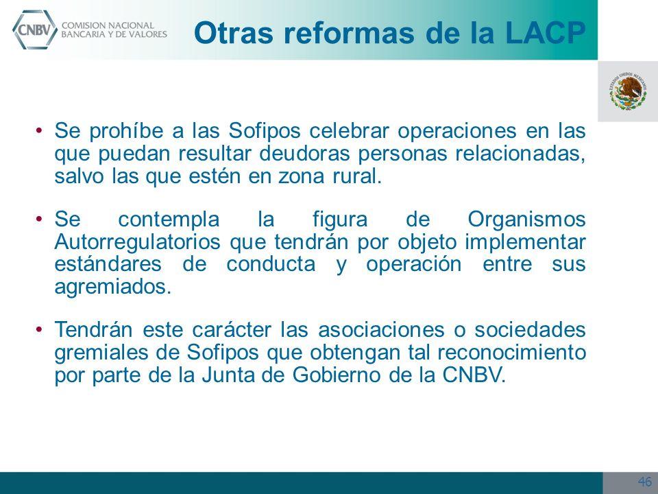 46 Se prohíbe a las Sofipos celebrar operaciones en las que puedan resultar deudoras personas relacionadas, salvo las que estén en zona rural. Se cont