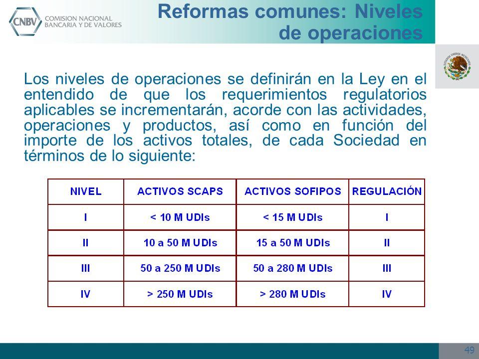 49 Reformas comunes: Niveles de operaciones Los niveles de operaciones se definirán en la Ley en el entendido de que los requerimientos regulatorios a