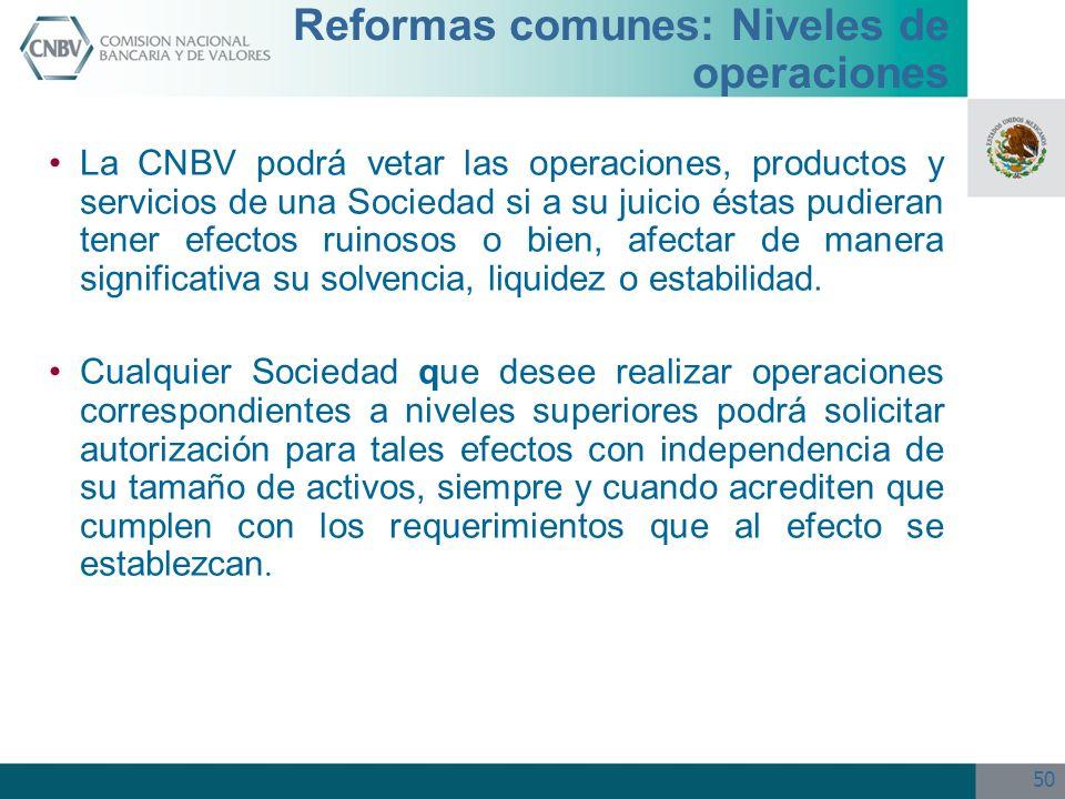 50 Reformas comunes: Niveles de operaciones La CNBV podrá vetar las operaciones, productos y servicios de una Sociedad si a su juicio éstas pudieran t