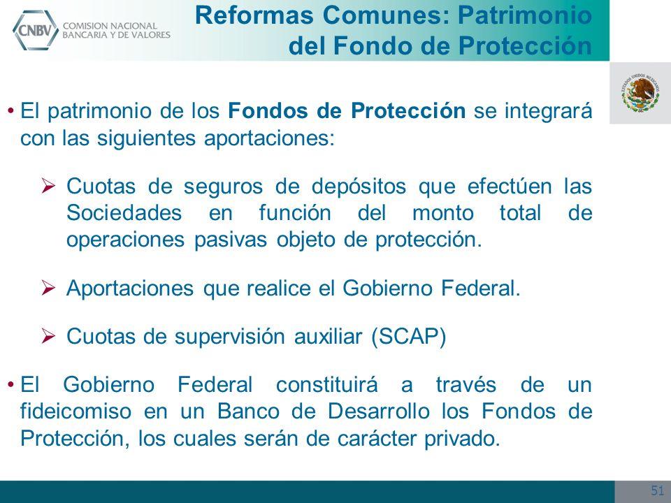 51 Reformas Comunes: Patrimonio del Fondo de Protección El patrimonio de los Fondos de Protección se integrará con las siguientes aportaciones: Cuotas