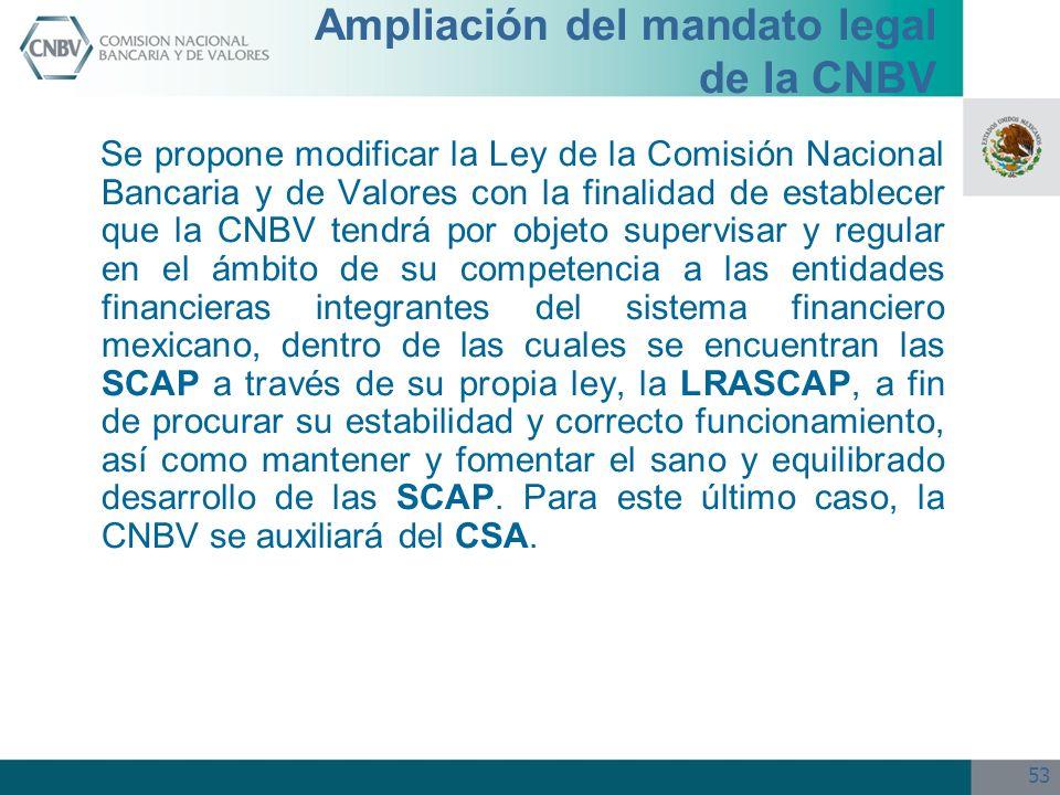 53 Ampliación del mandato legal de la CNBV Se propone modificar la Ley de la Comisión Nacional Bancaria y de Valores con la finalidad de establecer qu