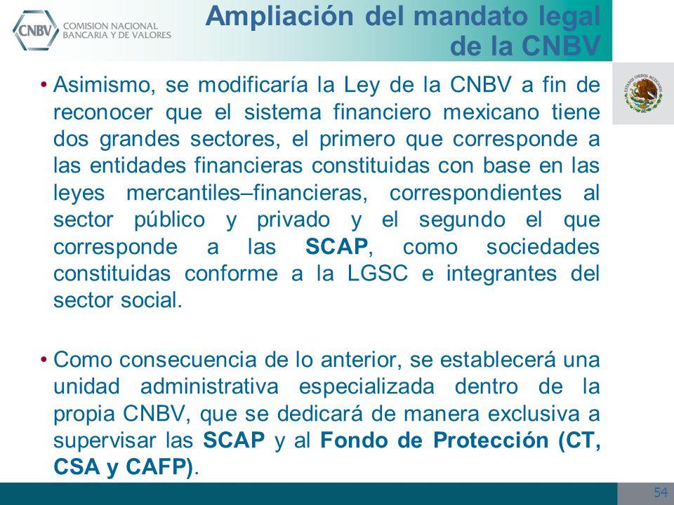 54 Ampliación del mandato legal de la CNBV Asimismo, se modificaría la Ley de la CNBV a fin de reconocer que el sistema financiero mexicano tiene dos