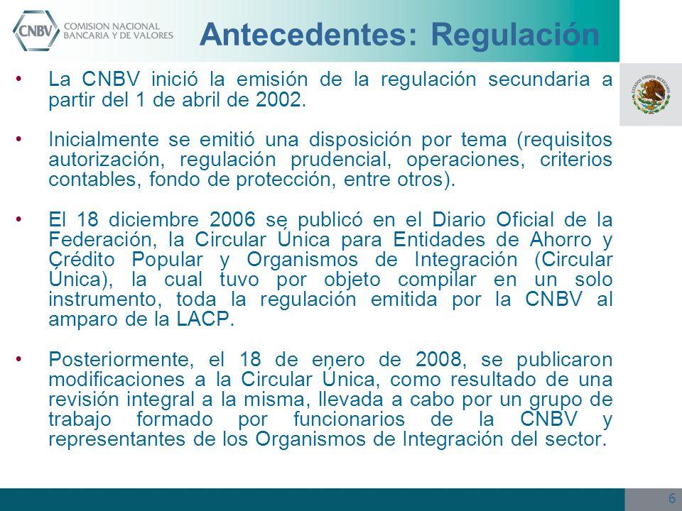6 Antecedentes: Regulación La CNBV inició la emisión de la regulación secundaria a partir del 1 de abril de 2002. Inicialmente se emitió una disposici