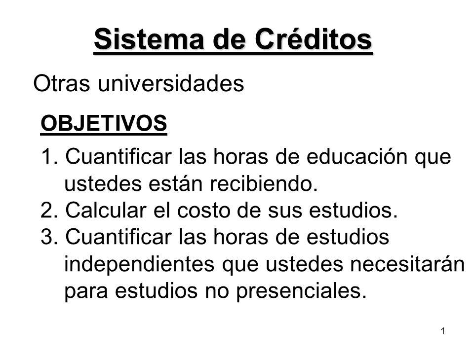 1 Sistema de Créditos Otras universidades OBJETIVOS 1. Cuantificar las horas de educación que ustedes están recibiendo. 2. Calcular el costo de sus es
