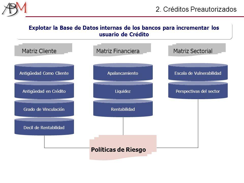 2. Créditos Preautorizados Antigüedad Como Cliente Antigüedad en Crédito Matriz Cliente Grado de Vinculación Decil de Rentabilidad Apalancamiento Liqu