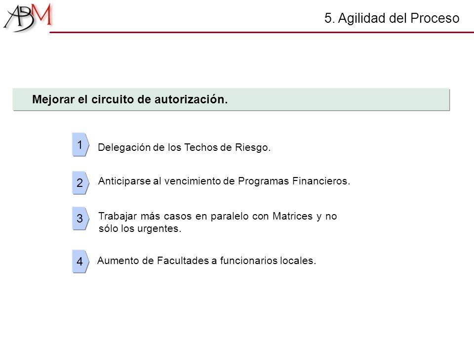 5. Agilidad del Proceso 1 Delegación de los Techos de Riesgo. 2 3 4 Mejorar el circuito de autorización. Anticiparse al vencimiento de Programas Finan