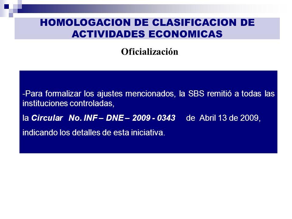 GESTIÓN DE INFORMACIÓN Oficialización HOMOLOGACION DE CLASIFICACION DE ACTIVIDADES ECONOMICAS -Para formalizar los ajustes mencionados, la SBS remitió