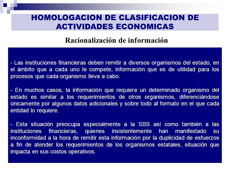 GESTIÓN DE INFORMACIÓN Racionalización de información HOMOLOGACION DE CLASIFICACION DE ACTIVIDADES ECONOMICAS - Las instituciones financieras deben re