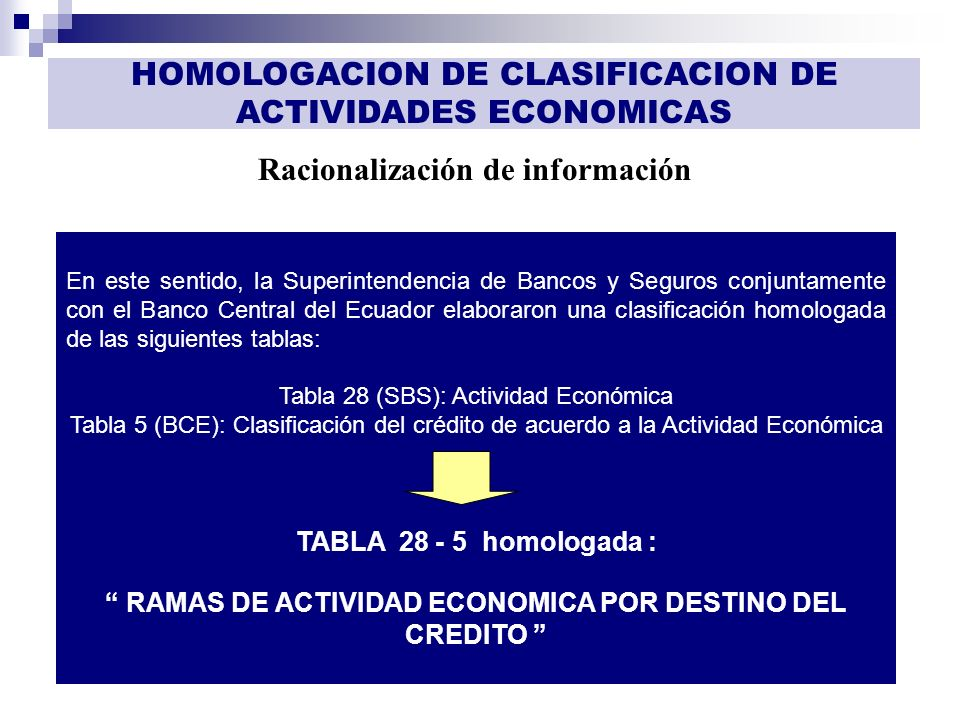 GESTIÓN DE INFORMACIÓN Racionalización de información HOMOLOGACION DE CLASIFICACION DE ACTIVIDADES ECONOMICAS En este sentido, la Superintendencia de