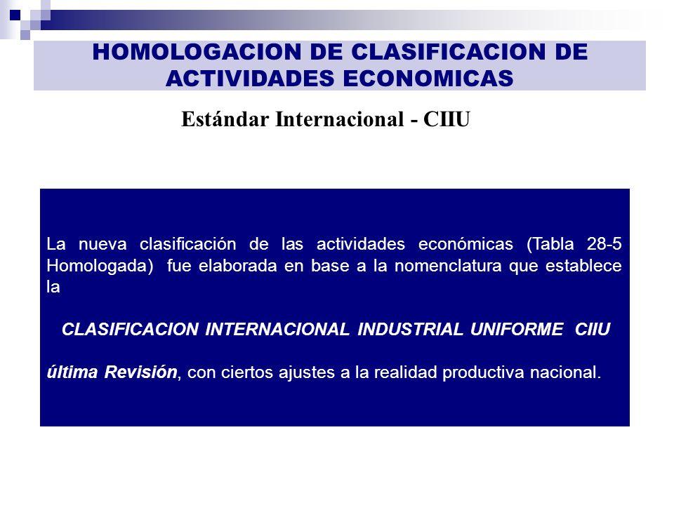 GESTIÓN DE INFORMACIÓN Estándar Internacional - CIIU HOMOLOGACION DE CLASIFICACION DE ACTIVIDADES ECONOMICAS La nueva clasificación de las actividades