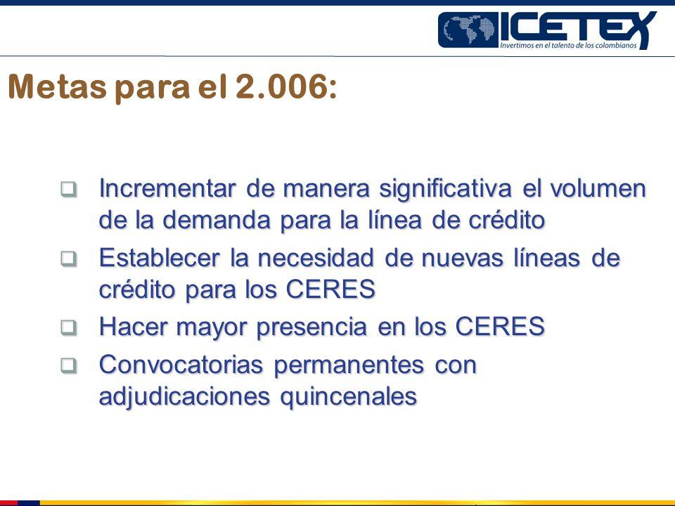 Metas para el 2.006: Incrementar de manera significativa el volumen de la demanda para la línea de crédito Incrementar de manera significativa el volu