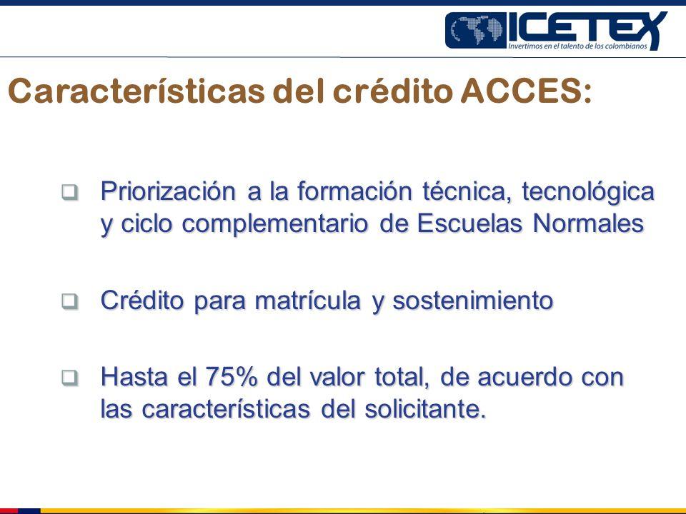 Características del crédito ACCES: Priorización a la formación técnica, tecnológica y ciclo complementario de Escuelas Normales Priorización a la form
