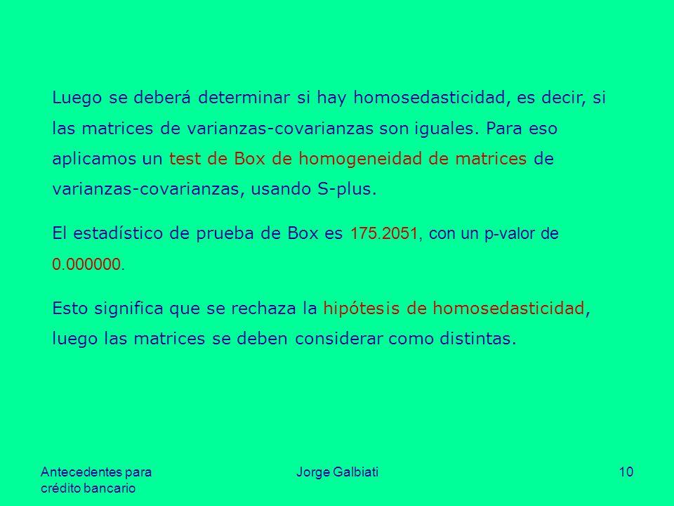 Antecedentes para crédito bancario Jorge Galbiati10 Luego se deberá determinar si hay homosedasticidad, es decir, si las matrices de varianzas-covaria