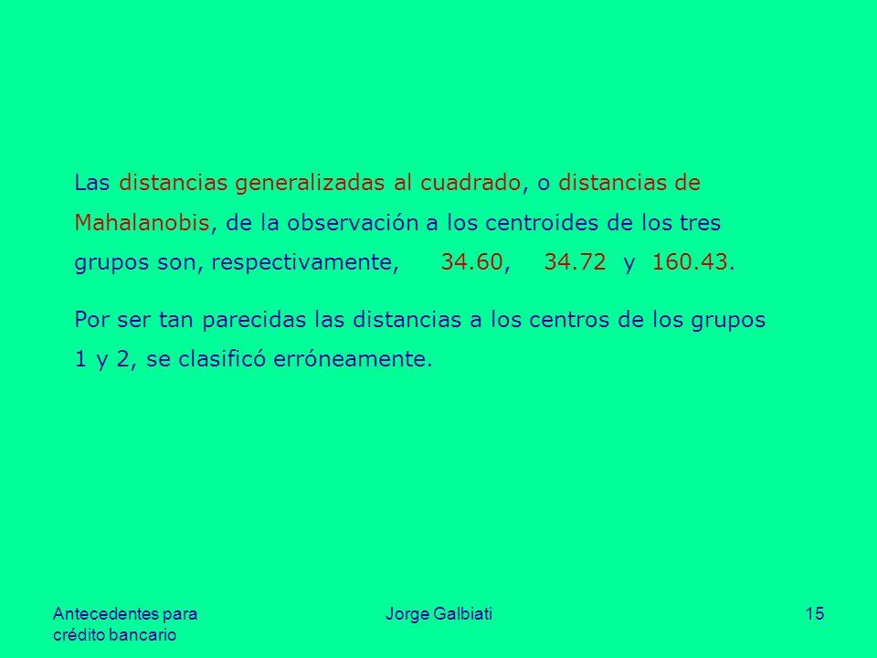 Antecedentes para crédito bancario Jorge Galbiati15 Las distancias generalizadas al cuadrado, o distancias de Mahalanobis, de la observación a los cen