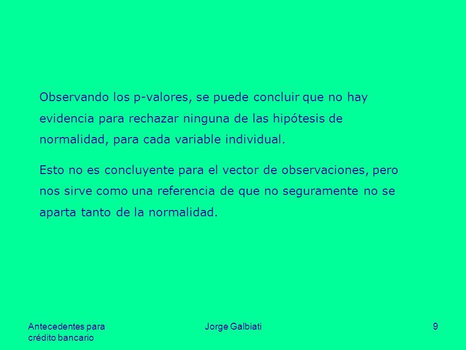 Antecedentes para crédito bancario Jorge Galbiati9 Observando los p-valores, se puede concluir que no hay evidencia para rechazar ninguna de las hipót