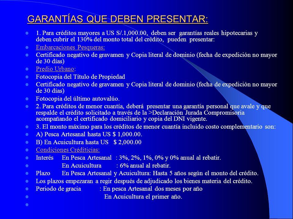 REQUISITOS PARA ACCEDER A LOS PROGRAMAS CREDITICIOS.