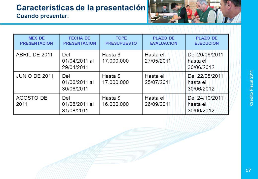Crédito Fiscal 2011 17 Características de la presentación Cuando presentar: MES DE PRESENTACION FECHA DE PRESENTACION TOPE PRESUPUESTO PLAZO DE EVALUA