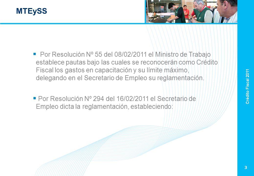 Crédito Fiscal 2011 3 MTEySS Por Resolución Nº 55 del 08/02/2011 el Ministro de Trabajo establece pautas bajo las cuales se reconocerán como Crédito Fiscal los gastos en capacitación y su límite máximo, delegando en el Secretario de Empleo su reglamentación.