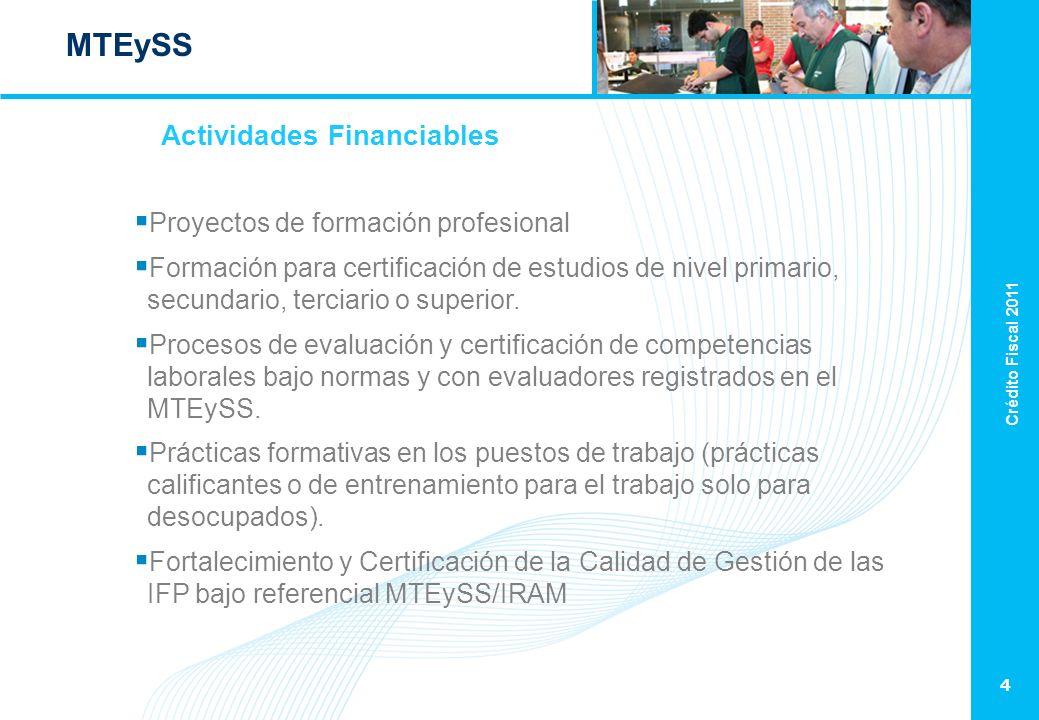 Crédito Fiscal 2011 4 MTEySS Proyectos de formación profesional Formación para certificación de estudios de nivel primario, secundario, terciario o superior.