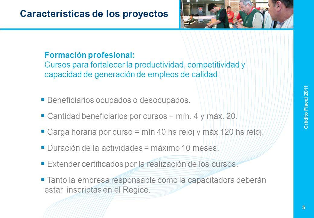 Crédito Fiscal 2011 5 Características de los proyectos Formación profesional: Cursos para fortalecer la productividad, competitividad y capacidad de generación de empleos de calidad.