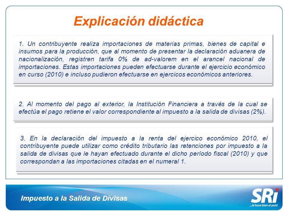 Ejemplo práctico EJERCICIO FISCAL 2010 Base Imponible:30.000,00 Impuesto a la Renta Causado 7.500,00 (-) Anticipo Pagado: 2.500,00 (-) Retenciones que le efectuaron: 1.500,00 (-) Crédito Tributario por retenciones de ISD* 1.000,00 (=) Valor a pagar: 2.500,00 * Retenciones de ISD que le efectuaron al contribuyente en el período fiscal 2010, correspondiente a importaciones realizadas en dicho período fiscal o en anteriores.