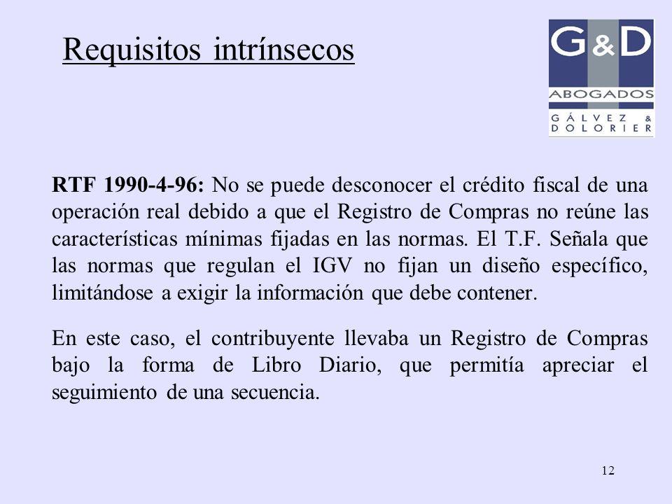 12 RTF 1990-4-96: No se puede desconocer el crédito fiscal de una operación real debido a que el Registro de Compras no reúne las características míni