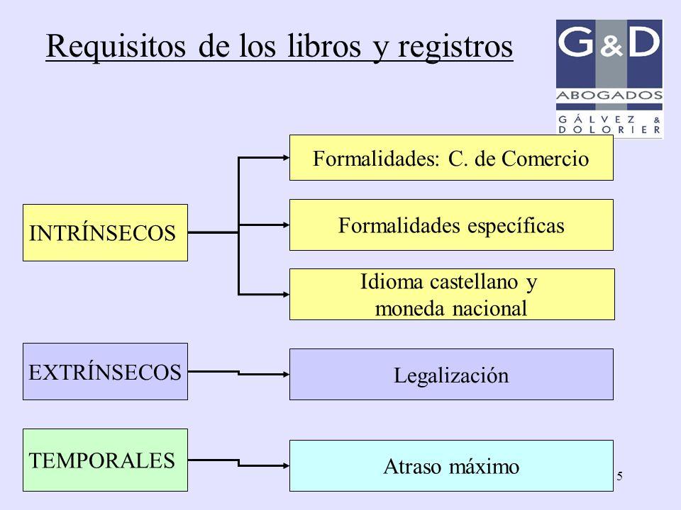 5 INTRÍNSECOS Formalidades: C. de Comercio Formalidades específicas Idioma castellano y moneda nacional Legalización TEMPORALES Atraso máximo EXTRÍNSE